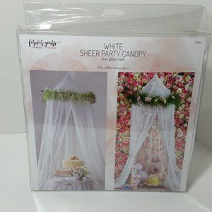 White Sheer Party Canopy Silver Glitter Mesh
